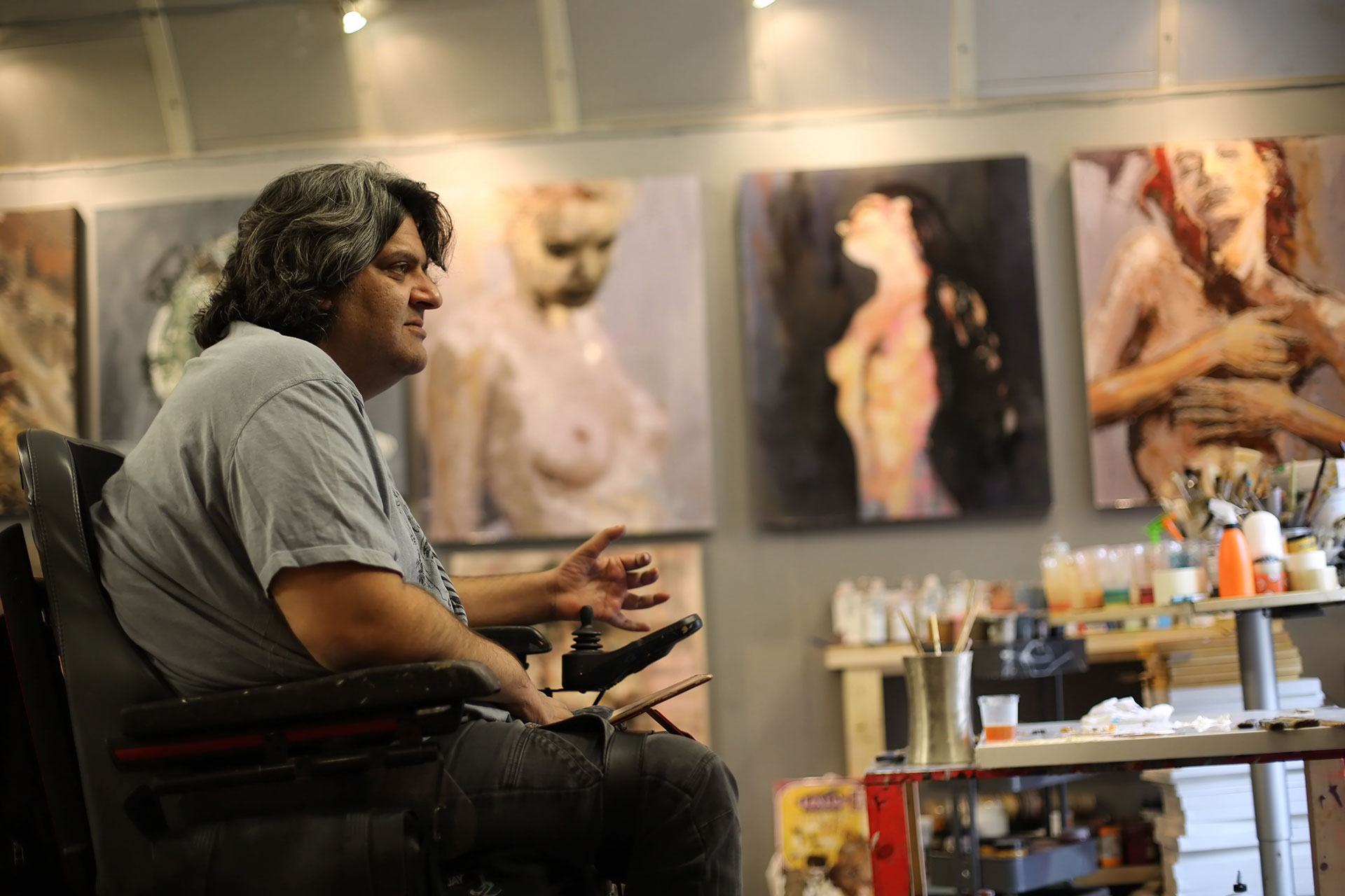 Afshin Naghouni in his Studio